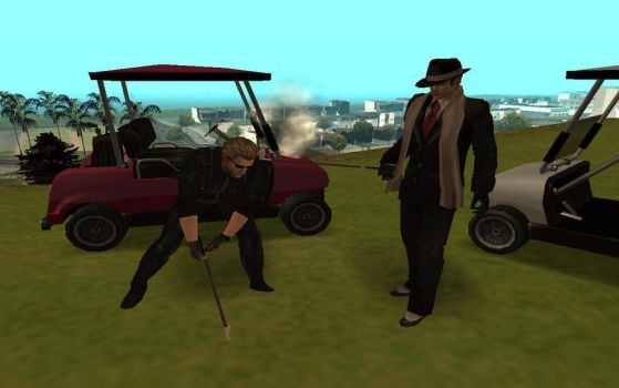 Wesker and Leon playing golf by MrWingfeather