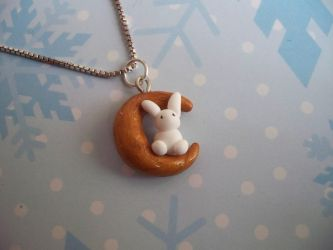 Bunny moon necklace by spongeenthusiast