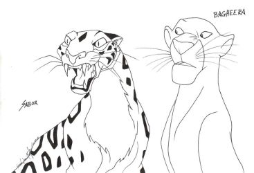 Bagheera and Sabor by TheRaineDrop