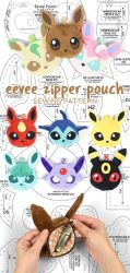 Eevee Evolution Zipper Pouch Sewing Pattern by SewDesuNe