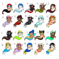 -OPEN!!!- Baby Naga and Mer Adoptables by OrangeSoulDarcy