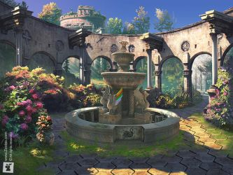 FOUNTAIN OF SECRETS: GAME ART MATTE PAINTING by ZOOLAX