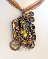 Gold steampunk mad scientist pendant by ukapala