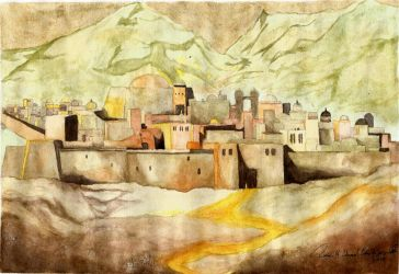 Watercolor Practice - Arabian Style Town by Axe-Canabrava