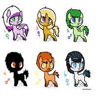 Mystery Ponies Sheet 2 (2 left) by BioToxicAdopts