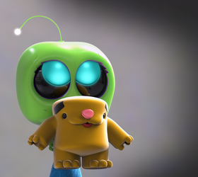 Zbrush Doodle Day 878b - Robot Kid Series 24 Shy by UnexpectedToy