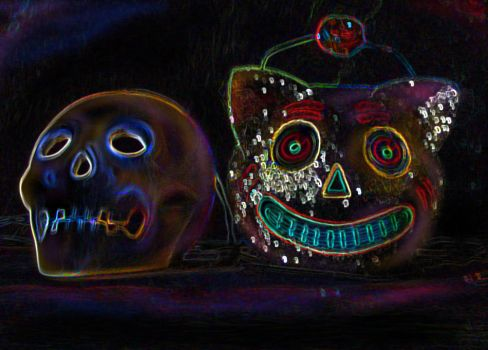 Skull and kitty by donitacurioso