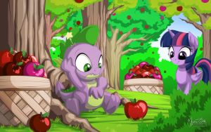 Twilight and Spike at Apple Acres by mysticalpha