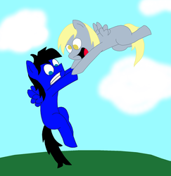 Derpy lends Caboose a helping hoof by Starsign83