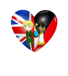 .:Commission:..:Chibi Heart Flag Couple:UKAntigua by Spirit-Okami