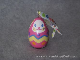 Custom Easter Egg Bunny Ornament or Figurine by KazFoxsen