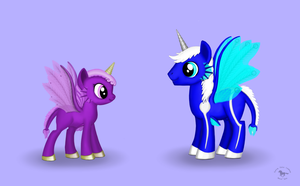 Violet and Silvermane MLP FIM Style A by CherokeeGal1975