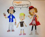 Ash, Serena, and Bonnie giving Thanks. by SuperSmash6453
