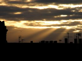 Chimney pots and sunbeams by Queenselphie