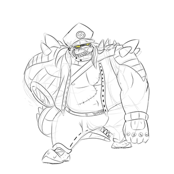 Gator Biker Sketch by ToppleTheStrange