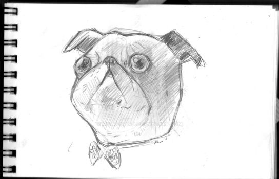 Pug with Bowtie by Metronitro