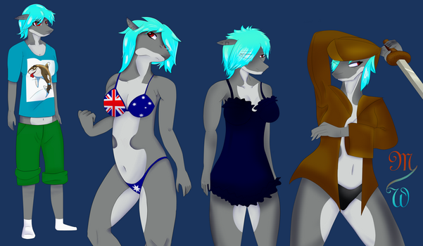 BlueBell in a variety of clothing. by Queen-Razlad