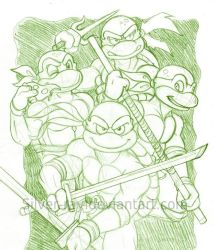 Old school TMNT sketch by Silver-Ray