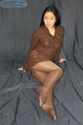 Brown Sweater, Shiny Tights by PantyhoseClass