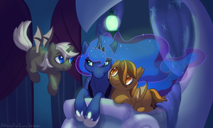 Luna and baticorn foals for NightMistEclipse by aHorseForEverySeason