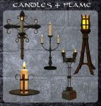 3D Candles and Flame by zememz