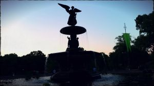 Fountain sunset In Central Park by ZombieDollTV