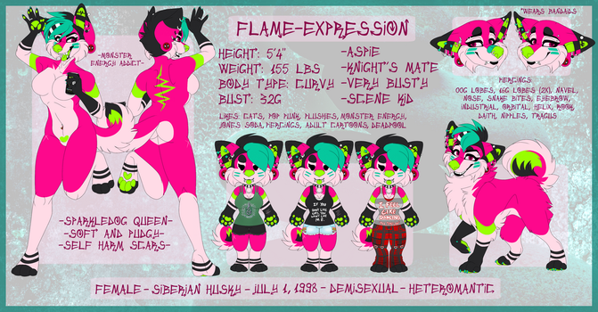 Current 2017 Fursona SFW Ref by Flame-Expression