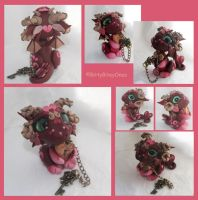 Burgandy Baby Dragon with Heart Lock And Key by BittyBiteyOnes