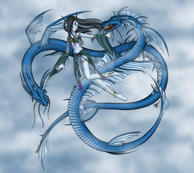 Fantasy Art [ In Flight ] Fae and Dragon Spirits by Tazmaa