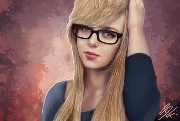 Girl with glasses by BluefireArt