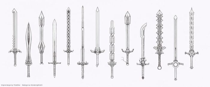 Weapon redesigns- great swords pt 1 (Sketch stage) by HIRVIOS