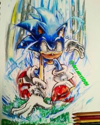 sonic archie comic pose drawing complete by AceArtz1001