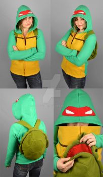 TMNT Raphael Hoodie with Shell Backpack by SewDesuNe