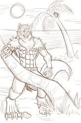 South Beach Werewolf - Paladin-Ciel Sketch by AnthroMan106