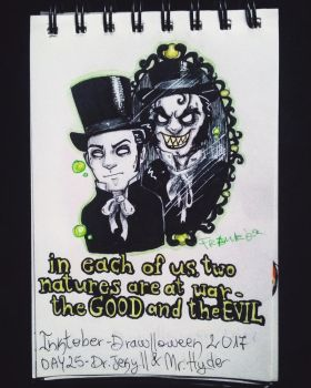 Inktober - Drawlloween / day 25: Dr.Jekyll/Mr.Hyde by Frankienstein