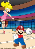 Mario and Peach Volleyball by FamousMari5