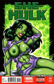 Naughty She-Hulk cover commission by gb2k