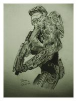Halo master chief (Free hand pencil drawing) by shehan103