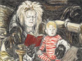 Jareth reading the book by gagambo