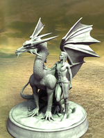 Statue Knight and Dragon by portisHeart