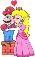 Peach Kissing Mario by nintendomaximus