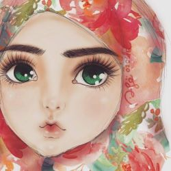 Pink Watercolor Hijab by finieramos