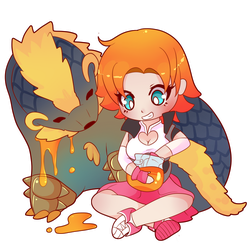 COMMISSION: Chibi Nora and Arzuros by SeviYummy