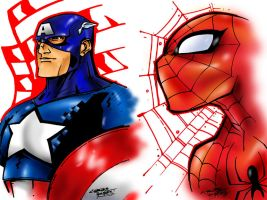 CAP and SPIDEY COLORED by Dreekzilla