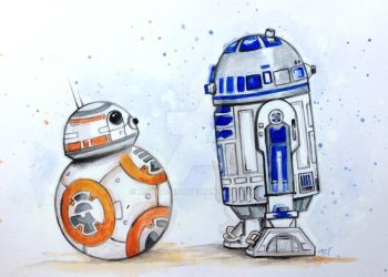 R2-D2 Meets BB-8 by mayan-art