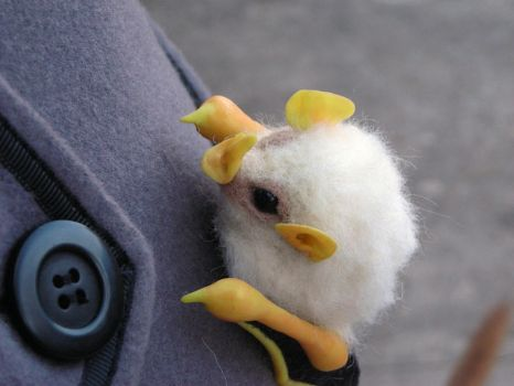 Honduran white bat brooch by creturfetur