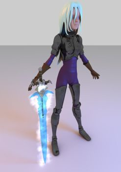 Armored lady with Frostmourne by Eraser85