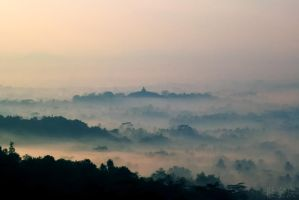 Borobudur From a Distance 2 by thesaintdevil