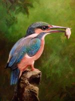 Kingfisher oil painting by Ned-The-Hat