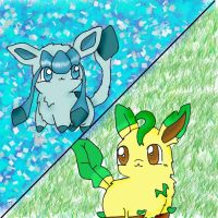 leafeon and glaceon by chikadee34